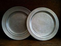 Vintage English Metal Plates mismatched Set of 2 by EnglishShop, $65.00