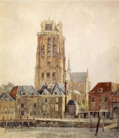 Zicht op Grote Kerk en Bomkade, Johannes Rutten 1809-1884, Dordrecht https://fr.pinterest.com/ANNeeltje/dutch-painting-nederlandse-schilderkunst-vnl-19de-/