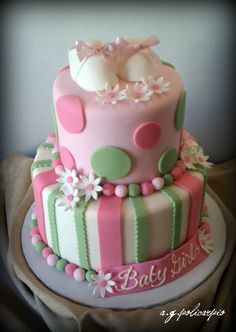 red velvet baby shower cake | Pink and Green baby shower cake