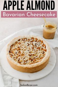 Apple Almond Bavarian Cheesecake - a shortbread crust filled with a rich cheesecake filling, cinnamon apples, almonds, and drizzled with caramel sauce. Make Ahead Desserts, Apple Dessert Recipes, Great Desserts, Apple Recipes, Vegan Recipes Easy, Cooking Recipes, Fruit Cheesecake, Healthy Cheesecake, Cheesecake Recipes