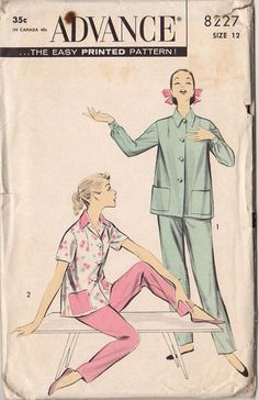Vintage 1950s Misses' Pajamas Advance Sewing Pattern 8227 Bust 32 Waist 25