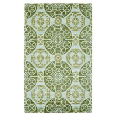 Anchor your living room or master suite with this hand-tufted wool rug, showcasing a striking medallion motif in turquoise and green.  ...