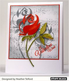 """Penny Black Rose Die (51-023 Rose) cut out and watercolored with Distress Stain. the die negative space was used to sponge the """"shadow"""" of the Rose.  Beautiful!"""