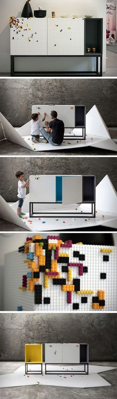 Studio NINE's Lego compatible furniture aims at being a playground for your children. The furniture comes with a machined textured layer that's all too familiar. Made from Corian, the polymer-based marble substitute, the furniture has a premium feel and a Kids Furniture, Furniture Decor, Furniture Design, Scandinavian Furniture, Scandinavian Design, Design Simples, Lego Architecture, Yanko Design, Interior Exterior