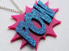Comic Book Necklace POW Pink and Blue Glitter by GlitterbombUK, £11.00