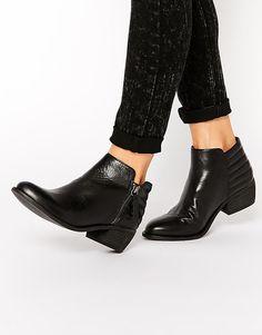 Image 1 ofDune Petrie Black Leather Ridge Flat Ankle Boots
