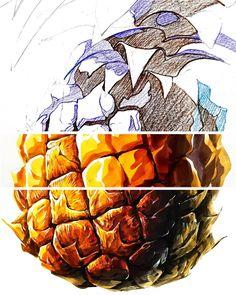 [펜톤미술학원] 파인애플, 구조파악, 수업중...기초디자인, 개체표현, 개체묘사, 자연물, 구도, 화면구성, 질감표현, 건국대, 경희대, 수상작, 합격작, 연구작, 재현작, 완성작, 펜톤 인스타, 페북, 블로그 확인가능 Shape And Form, Drawing Techniques, Copic, Pencil Art, Colored Pencils, Book Art, Concept Art, How To Draw Hands, Digital Art