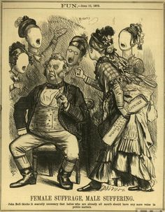 """""""Female Suffrage, Male Suffering,"""" John Bull thinks it scarcely necessary that ladies who are already all mouth should have any voice in public matters, June Women's Liberation Movement, One Wave, Lightning Strikes, Old Ads, Women In History, Political Cartoons, Illustrations Posters, Feminism, Images"""