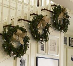 ciao! newport beach: Time to Dress Up the Banister!..love fresh green wreaths,now where can i buy real one??? I have all faux...lol