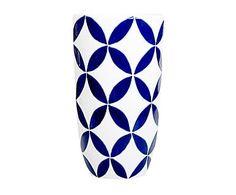 Portavaso in ceramica blu e bianco Circla, 25x23 cm