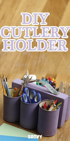 This is a great project if you do a lot of outdoor entertaining or your kids have school supplies in need of organizing. This DIY Cutlery Holder is a great way to recycle old tin cans into something super useful that looks awesome. Fill the cans with forks, knives and spoons for a family BBQ or use them to hold school supplies (like scissors, pencils, pens and crayons).
