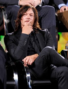 Actor Norman Reedus speaks onstage during AMC presents 'Talking Dead Live' for the premiere of 'The Walking Dead' at Hollywood Forever on October 23...