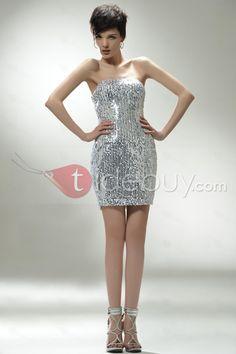 Atractivo Vestido de Prom/Cóctelsin Tirantes con Adornos Lentejuelas y Cola Mini (Envío Gratuito)