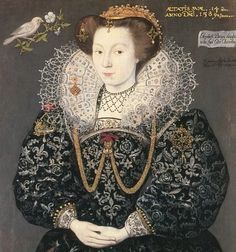Portrait of Elizabeth Brydges (detail), showing blackwork on cuffs and at the square neckline of her smock, by Hieronimo Custodis, 1589, from Tudor and Elizabethan Portraits. Larger image.