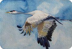 Vogelzug auf Hiddensee   Kranich im Flug (c) Miniatur in Aquarell von Frank Koebsch