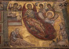 Storie di Maria e Gesù - Natività, attr. a Cimabue - mosaico - 1250-1330 - Battistero di San Giovanni - Firenze