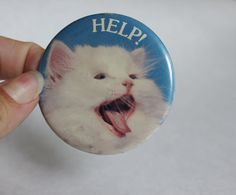Vintage Help Cat or Kitten Button