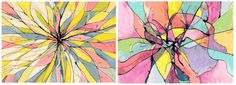 From a teacher's art project idea.  The one on the left is so beautiful, to me it looks like stained glass in an abstract flower design.