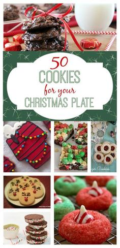50 Cookie recipes to help fill your Christmas plate! I really miss making cookies as gifts! Baked cookies+dollar store tin= we all win! Christmas Cookie Exchange, Christmas Plates, Christmas Sweets, Christmas Cooking, Christmas Goodies, Christmas Time, Snoopy Christmas, Xmas Food, Christmas Candy