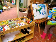 Easel: offer other materials along with paint at the easel (ie: scissors, glue, tape, paper, ribbon, markers...)