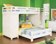 Creekside White Wash  Twin Full Step Bunk Bedroom w Chest