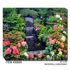 Waterfall & Begonias Outdoor Wall Art
