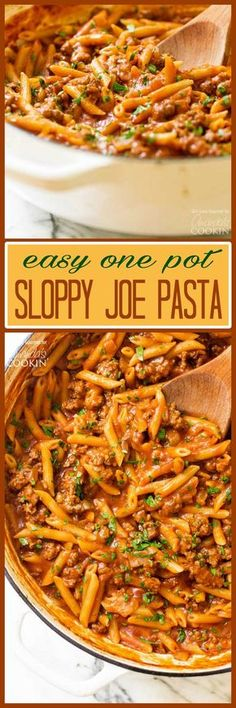 A twist on a classic, this one pot sloppy joe pasta is easy to make and has everything you love about sloppy joes with no hamburger buns required. (Easy Meal To Make Dinners) Casserole Recipes, Meat Recipes, Crockpot Recipes, Dinner Recipes, Cooking Recipes, Pasta Recipes, Dinner Ideas, Macaroni Recipes, Wine