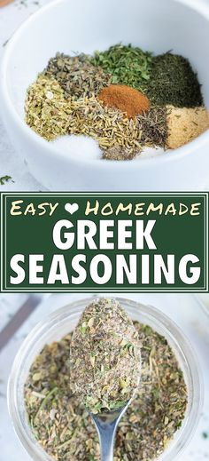 This Greek Seasoning recipe is the best homemade mix of a few easy-to-find dried herbs and spices!  You can quickly make this healthy spice blend in under 5 minutes to season your favorite chicken shish kabobs, turkey meatballs, or other Mediterranean dishes and store it for over a year. #Greek #mediterranean #seasoning #whole30 #lowcarb #vegan