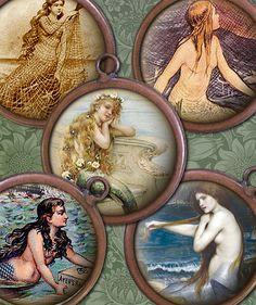 Vintage Mermaids 1 inch Circles Digital by steamduststudios from steamduststudios on Etsy. Saved to I wanna be a mermaid. Siren Mermaid, Mermaid Art, Mermaid Images, Mermaid Pictures, Mermaid Tails, Art Vampire, Vampire Knight, Fantasy Creatures, Sea Creatures