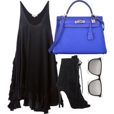 Black & Blue by carolineas on Polyvore featuring polyvore, fashion, style, STELLA McCARTNEY, Giuseppe Zanotti, Hermès and Linda Farrow