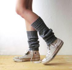 Grey Leg warmers / Boot cuff / grey boot socks / by KnittingMamas