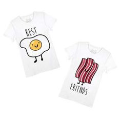 """- Description - Sizing This is for TWO t-shirts! These super cute friendship tees feature a cute graphic of bacon on one and eggs on the other with the words """"best friends"""" on them! Store FAQ   Shippi"""