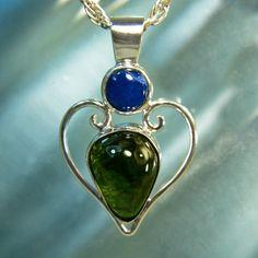 Moldavite & Cavensite Heart-Shaped Pendant  by ArkadiaCollection