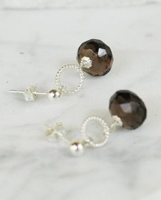 Bella Petite Smoky Quartz Dangle Sterling Silver Wire Wrap Earrings