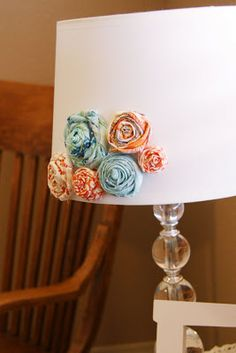 Flowers on a lampshade!  So cute and easy!