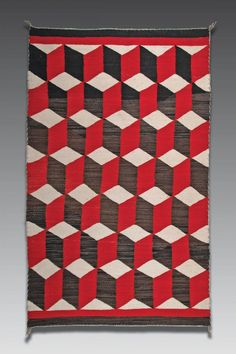 Navaho rug, second quarter of the 20th century. Optical weaving design, 36 x 60 in. via icollector