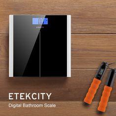 Etekcity® báscula de baño digital de alta medición precisa 5kg-180kg con diseño extraplano y LCD retroiluminación, Negro: Amazon.es: Salud y cuidado personal