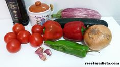 PISTO DE VERDURAS - Recetas a dieta Eggplant, Vegetables, Food, Deserts, Meals, Entrees, Healthy Recipes, Vegetable Recipes, Eten