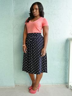 Polka Dot Midi Skirt  BLMGirls Curves And Confidence c67c8308587