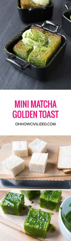 This one is made with matcha green tea and topped with matcha ice cream! Easy to make and each mini toast is gone in bites! Green Tea Dessert, Matcha Dessert, Moringa Recipes, Honey Toast, Matcha Green Tea, Green Teas, Green Tea Recipes, Green Tea Powder, Greens Recipe