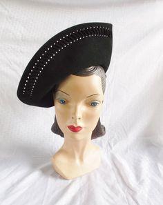 30's 40's Vintage Black Felt Side Tilt Hat by MyVintageHatShop, $75.00