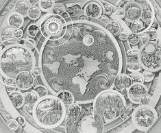 Atlas Orbis by Benjamin Sack Fantasy Places, Fantasy Map, Monumental Architecture, Circle Game, Orbis, Danse Macabre, Detailed Drawings, Global Art, Cartography