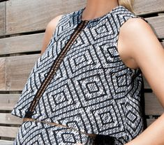 Evening top Diamond geometric printed blouse with by SHILASTUDIO