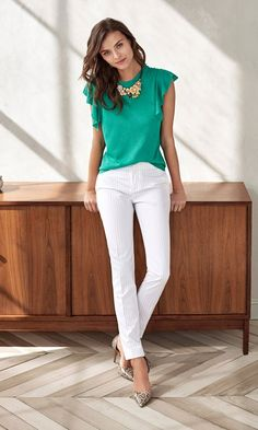 Green top Skinny white jeans