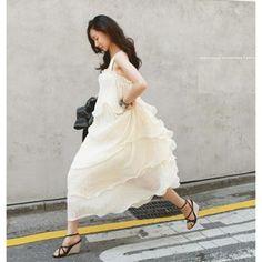2012 Korean version of the summer the female new bohemian run White Swan aestheticism suspenders chiffon dress dress - Taobao