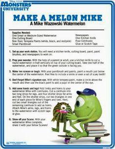 Make a Monsters University Melon Mike - A Mike Wazowski Watermelon Disney Diy, Disney Crafts, Disney Food, Disney Pixar, Disney Recipes, Disneyland Food, Kid Recipes, Disney Theme, Disney Parks