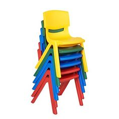 "ECR4Kids School Stack Resin Chair (6-Pack), 12"", Assorted Colors"