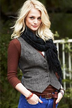 tweed vest over long-sleeve tee