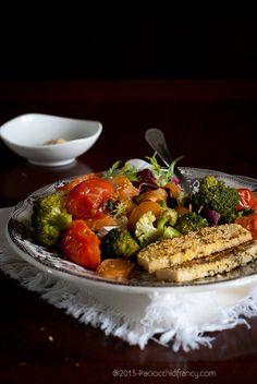 Insalata con tofu impanato