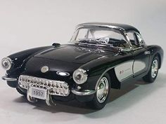Kinsmart Chevy Corvette 1957 Black & White Hardtop 1/34 Scale Diecast Sports Car Spring Into Action, Side Door, Collector Cars, Corvette, Diecast, Chevy, Scale, Black And White, Sports